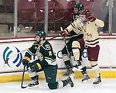 Matt White (UVM - 19), Michael Paliotta (UVM - 2), Pat Mullane (BC - 11) - The Boston College Eagles defeated the visiting University of Vermont Catamounts to sweep their quarterfinal matchup on Saturday, March 16, 2013, at Kelley Rink in Conte Forum in Chestnut Hill, Massachusetts.