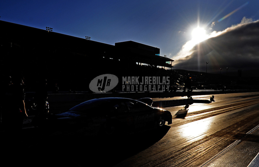 Jul. 24, 2009; Sonoma, CA, USA; NHRA pro stock driver V Gaines during qualifying for the Fram Autolite Nationals at Infineon Raceway. Mandatory Credit: Mark J. Rebilas-