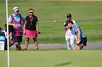 Georga Hall (ENG) chips onto the 8th green and holes it during Thursday's Round 1 of The Evian Championship 2018, held at the Evian Resort Golf Club, Evian-les-Bains, France. 13th September 2018.<br /> Picture: Eoin Clarke | Golffile<br /> <br /> <br /> All photos usage must carry mandatory copyright credit (&copy; Golffile | Eoin Clarke)
