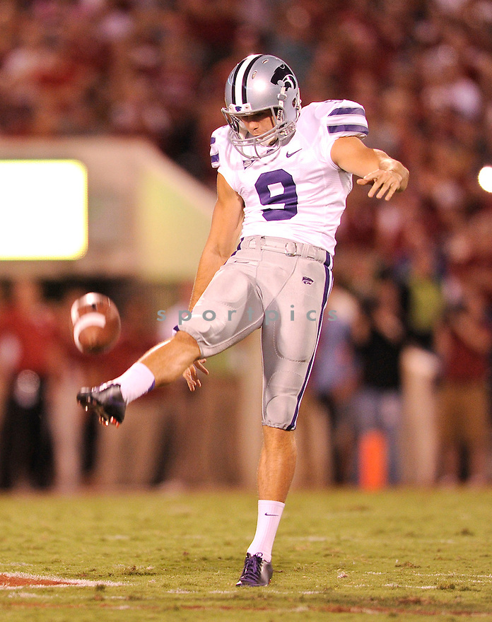 Kansas State Wildcats Ryan Doerr (9) in action during a game against Oklahoma on September 22, 2012 at Gaylord Family Oklahoma Memorial Stadium in Norman, OK. Kansas State beat Oklahoma 24-19.