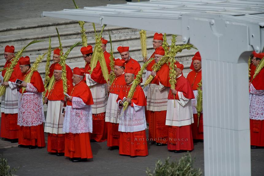 Cardinali in Piazza San Pietro durante la celebrazione della messa della Domenica delle Palme