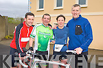 Karina Teahan Sneem celebrates being the first woman to finish the Puck Warriors Duathlon in Killorglin on Saturday with her friends and fellow competitors l-r: Roland Rogers Tralee, Humphrey Murphy Castleisland, Karina Teahan and Aongus O'Donoghue Killarney