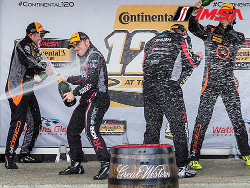 IMSA WeatherTech SportsCar Championship<br /> Sahlen's Six Hours of the Glen<br /> Watkins Glen International, Watkins Glen, NY USA<br /> Saturday 1 July 2017<br /> 77, McLaren, McLaren GT4, GS, Nico Rondet, Mathew Keegan 59, Ford, Ford Mustang, GS, Dean Martin, Jack Roush Jr 76, McLaren, McLaren GT4, GS, Matt Plumb, Paul Holton podium<br /> World Copyright: Michael L. Levitt/LAT Images
