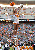 KNOXVILLE, TN - OCTOBER 5: Tennesse cheerleader during a game between University of Georgia Bulldogs and University of Tennessee Volunteers at Neyland Stadium on October 5, 2019 in Knoxville, Tennessee.