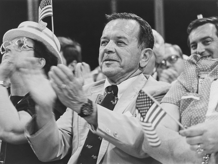 Sen. Ted Stevens, R-Alaska, listening to Keagan on Sep. 11, 1988. (Photo by Andrea Mohin/CQ Roll Call via Getty Images)