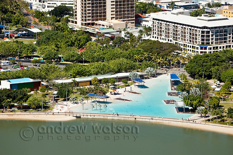 Aerial view of Esplanade lagoon.  Cairns, Queensland, Australia