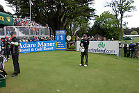 Paul McGinley arrives on the 1st tee box for his match with Martin Erlandsson in the third round of the Irish Open on 19th of May 2007 at the Adare Manor Hotel & Golf Resort, Co. Limerick, Ireland. (Photo by Eoin Clarke/NEWSFILE).