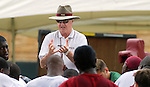 Florida State University football coach Bobby Bowden (standing) talks to his team at the morning August 10, 2004 in Tallahassee.  The Seminoles open their season September 6, 2004 at Miami.  (Mark Wallheiser/TallahasseeStock.com)