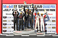 IMSA Continental Tire SportsCar Challenge<br /> Mobil 1 SportsCar Grand Prix<br /> Canadian Tire Motorsport Park<br /> Bowmanville, ON CAN<br /> Saturday 8 July 2017<br /> 56, Porsche, Porsche Cayman, ST, Jeff Mosing, Eric Foss, 44, Nissan, Altima, Sarah Cattaneo, Owen Trinkler, 37, MINI, MINI JCW, Mike LaMarra, James Vance, podium win, winner, victory lane<br /> World Copyright: Scott R LePage/LAT Images