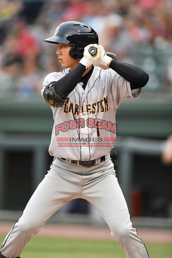 Shortstop Hoy Jun Park (1) of the Charleston RiverDogs bats in a game against the Greenville Drive on Thursday, July 27, 2017, at Fluor Field at the West End in Greenville, South Carolina. Charleston won, 5-2. (Tom Priddy/Four Seam Images)