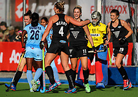 Rachel McCann and Olivia Meery celebrate a goal during the international hockey match between the Blacksticks Women and India, Rosa Birch Park, Pukekohe, New Zealand. Sunday 14  May 2017. Photo:Simon Watts / www.bwmedia.co.nz