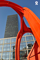 Red sculpture and Skyscraper,  La Defense - This sculture is a reproduction of the famous 'Flamingo' by Alexander Calder situated downtown Chicago, USA (Licence this image exclusively with Getty: http://www.gettyimages.com/detail/95794847 )