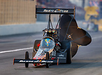 Feb 10, 2018; Pomona, CA, USA; NHRA top fuel driver Clay Millican sets a new NHRA national record with an elapsed time of 3.628 seconds during qualifying for the Winternationals at Auto Club Raceway at Pomona. Mandatory Credit: Mark J. Rebilas-USA TODAY Sports