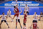 07 MAY 2016: Driss Geussous (4) of Ohio State University goes for a kill against Brigham Young University during the Division I Men's Volleyball Championship held at Rec Hall on the Penn State University campus in University Park, PA.  Ohio State defeated BYU 3-1 for the national title.  Ben Solomon/NCAA Photos
