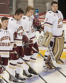 Teddy Doherty (BC - 4), Ian McCoshen (BC - 3), Scott Savage (BC - 2), Brian Billett (BC - 1) - The Boston College Eagles defeated the visiting University of New Brunswick Varsity Reds 6-4 in an exhibition game on Saturday, October 4, 2014, at Kelley Rink in Conte Forum in Chestnut Hill, Massachusetts.