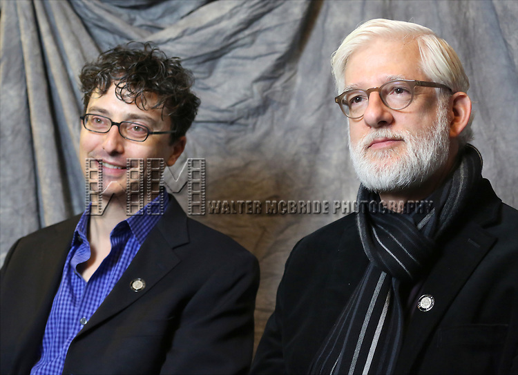 Beowulf Boritt and Dan Moses Schreier attends the 2014 Tony Awards Meet the Nominees Press Junket at the Paramount Hotel on April 30, 2014 in New York City.