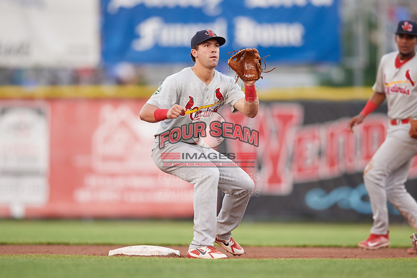Johnson City Cardinals shortstop Michael Perri (8) waits to receive a throw from the catcher during the second game of a doubleheader against the Princeton Rays on August 17, 2018 at Hunnicutt Field in Princeton, Virginia.  Princeton defeated Johnson City 12-1.  (Mike Janes/Four Seam Images)