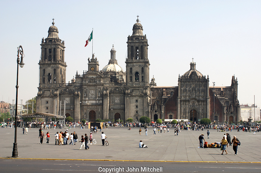 The Metropolitan Cathedral or Catedral Metropolitano on the Zocalo in Mexico City.