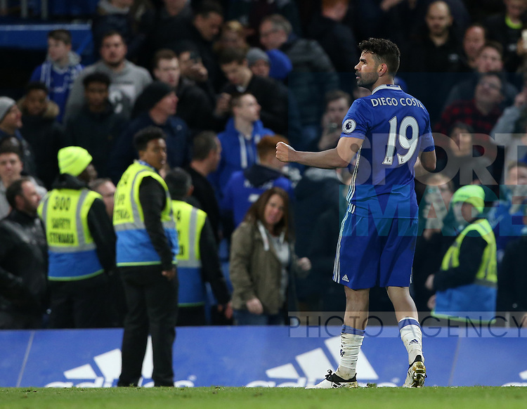 Chelsea's Diego Costa celebrates scoring his sides fourth goal during the Premier League match at Stamford Bridge Stadium, London. Picture date: April 25th, 2017. Pic credit should read: David Klein/Sportimage