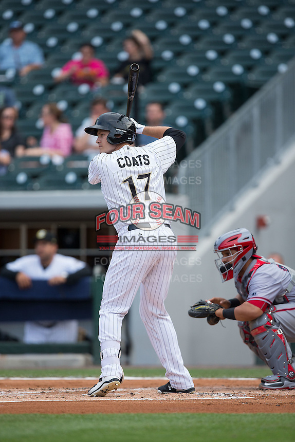 Jason Coats (17) of the Charlotte Knights at bat against the Syracuse Chiefs at BB&T BallPark on June 1, 2016 in Charlotte, North Carolina.  The Knights defeated the Chiefs 5-3.  (Brian Westerholt/Four Seam Images)