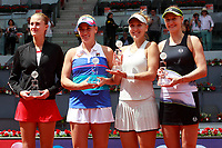 Ekaterina Makarova and Elena Vesnina, Russia (r), celebrate the victory in the Madrid Open Tennis 2018 WTA Doubles Final match in presence of the finalists Timea Babos, Hungary and Kristina Mladenovic, France. May 12, 2018.(ALTERPHOTOS/Acero) /NORTEPHOTOMEXICO