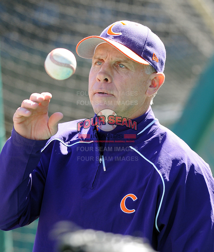 Clemson head coach Jack Tanner (7) prior to a game between the Clemson Tigers and South Carolina Gamecocks Saturday, March 6, 2010, at Fluor Field at the West End in Greenville, S.C. Photo by: Tom Priddy/Four Seam Images