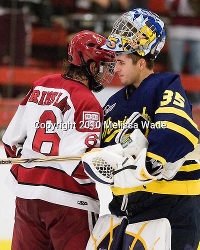 Ryan Grimshaw (Harvard - 6), Joe Cannata (Merrimack - 35) - The visiting Merrimack College Warriors defeated the Harvard University Crimson 3-1 (EN) at Bright Hockey Center on Tuesday, November 30, 2010.