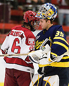 Ryan Grimshaw (Harvard - 6), Joe Cannata (Merrimack - 35) - The visiting Merrimack College Warriors defeated the Harvard University Crimson 3-1 (EN) at Bright Hockey Center on Tuesday, November 30, 2010.