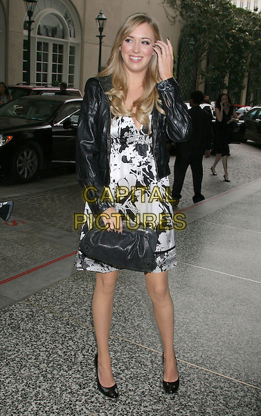 ANDREA BOWEN .Step Up Women's Network 2008 Inspiration Awards Luncheon held at the Beverly Wilshire Hotel, Beverly Hills, California, USA, .09 May 2008.full length black and white print dress jacket leather clutch bag purse .CAP/ADM/RE.©Russ Elliot/Admedia/Capital PIctures
