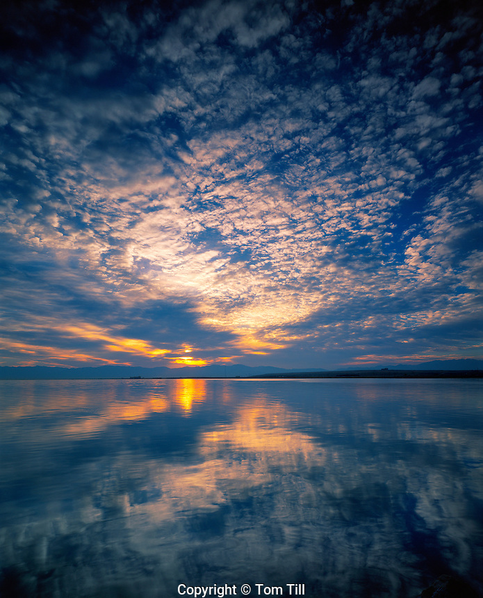 Morning Clouds Reflected in Great Salt Lake,   Great Salt Lake State Park, Utah