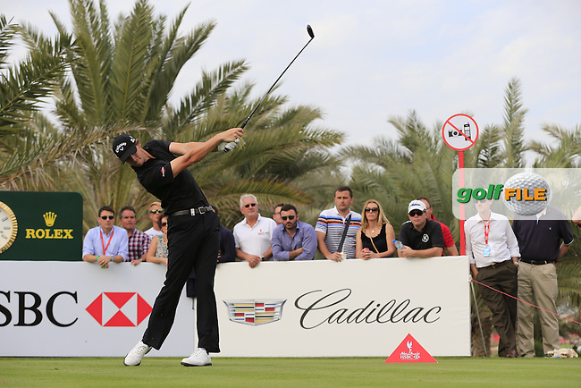Thomas Pieters (BEL) tees off the 14th tee during Sunday's Final Round of the Abu Dhabi HSBC Golf Championship 2015 held at the Abu Dhabi Golf Course, United Arab Emirates. 18th January 2015.<br /> Picture: Eoin Clarke www.golffile.ie