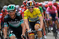14th March 2020, Paris to Nice cycling tour, final day, stage 7;  SCHACHMANN Maximilian (GER) of BORA - HANSGROHE with the tellow jersey in action during stage 7 of the 78th edition of the Paris - Nice cycling race, a stage of 166,5km with start in Nice and finish in Valdeblore La Colmiane on March 14, 2020 in Valdeblore La Colmiane, France
