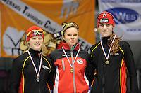 SCHAATSEN: HEERENVEEN: Thialf, Viking Race, 18-03-2011, Podium Girls14 500m, Sanneke de Neeling (NED), Vanessa Bittner (AUT), Tessa Boogaard (NED), ©foto Martin de Jong