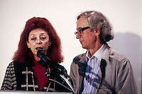 Christo and Jeanne-Claude at the Museum of Contemporary Art in Sydney, Australia in 1995. John Kaldor is the founder of Kaldor Public Art Projects which is an Australian arts organisation established in 1969. The organisation's first project, in 1969 was Christo and Jeanne-Claude's Wrapped Coast, which at the time was the largest single artwork ever made.