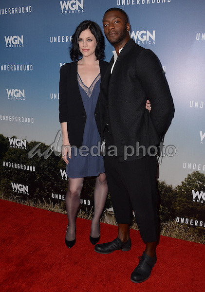 "08 January  - Pasadena, Ca - Jessica de Gouw, Aldis Hodge. Arrivals for the WGN America Winter TCA Tour ""Underground"" held at The Langham Hotel. Photo Credit: Birdie Thompson/AdMedia"