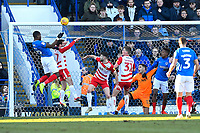 Omar Bogle of Portsmouth left goes close with a header during Portsmouth vs Doncaster Rovers, Sky Bet EFL League 1 Football at Fratton Park on 2nd February 2019