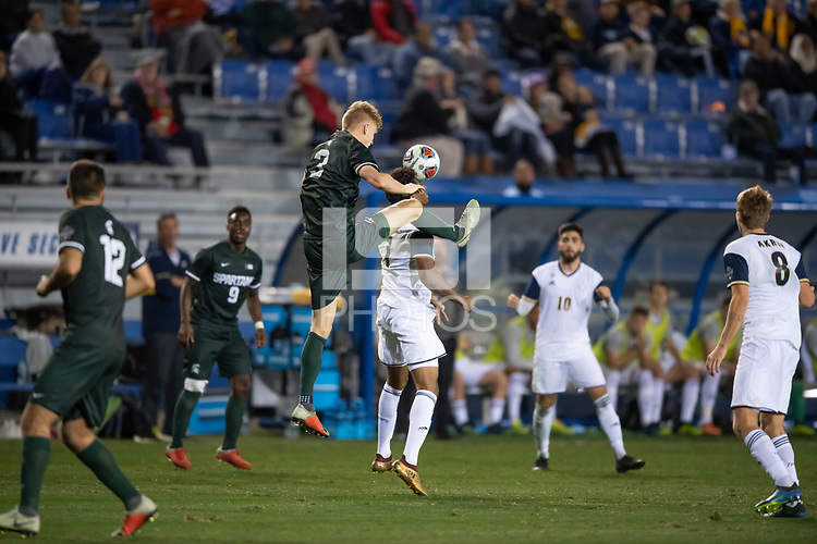 Santa Barbara, CA - Friday, December 7, 2018:  Akron men's soccer defeated Michigan State 5-1 in a semi-final match in the 2018 College Cup.  Michigan State's Patrick Neilson.