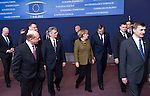 Brussels-Belgium - February 07, 2013 -- European Council, EU-summit meeting of Heads of State / Government; here, Angela MERKEL (ce), Federal Chancellor of Germany, with Antonis SAMARAS (ce-ri), Prime Minister of Greece; Fredrik REINFELDT (le), Prime Minister of Sweden; Traian BASESCU (2.le), President of Romania; Werner FAYMANN (3.le), Federal Chancellor of Austria; Valdis DOMBROVSKIS (2.ri), Prime Minister of Latvia; Andrus ANSIP (ri), Prime Minister of Estonia -- Photo: © HorstWagner.eu