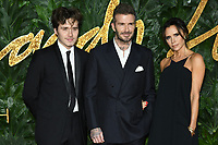 LONDON, UK. December 10, 2018: Brooklyn Beckham, David Beckham &amp; Victoria Beckham at The Fashion Awards 2018 at the Royal Albert Hall, London.<br /> Picture: Steve Vas/Featureflash