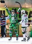 Stockholm 2014-03-05 Bandy SM-semifinal 3 Hammarby IF - V&auml;ster&aring;s SK :  <br /> Hammarbys Stefan Erixon jublar efter att ha gjort 5-3 p&aring; straff i slutet av matchen <br /> (Foto: Kenta J&ouml;nsson) Nyckelord:  VSK Bajen HIF jubel gl&auml;dje lycka glad happy