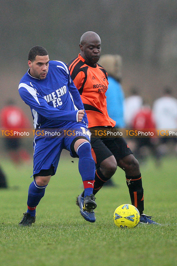 Mile End (blue/white) vs The Lord Rookwood Rovers - Hackney & Leyton Sunday League Hackney Gazette Cup Football at South Marsh, Hackney Marshes, London - 11/12/11 - MANDATORY CREDIT: Gavin Ellis/TGSPHOTO - Self billing applies where appropriate - 0845 094 6026 - contact@tgsphoto.co.uk - NO UNPAID USE.