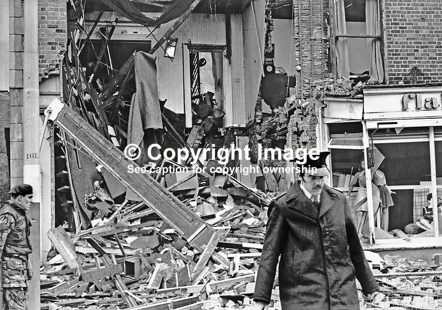 Kaitcer's antiques shop, Dublin Road, Belfast, N Ireland, after Provisional IRA bomb exploded in the premises. The shop's owner, Leonard Kaitcer, was kidnapped over two years later. His body was found on the Glen Road, Andersonstown.  Although no organisation admitted responsibility it was assumed that a republican organisation was involved because of where the body was found. 197201260034a.<br /> <br /> Copyright Image from Victor Patterson,<br /> 54 Dorchester Park, Belfast, UK, BT9 6RJ<br /> <br /> t1: +44 28 90661296<br /> t2: +44 28 90022446<br /> m: +44 7802 353836<br /> <br /> e1: victorpatterson@me.com<br /> e2: victorpatterson@gmail.com<br /> <br /> For my Terms and Conditions of Use go to<br /> www.victorpatterson.com