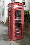 Functioning K6 design traditional red telephone box kiosk, Devizes, Wiltshire, England, UK