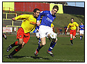 27th April 2001   Copyright Pic : James Stewart .Ref :                           .File Name : stewart05-albion rovers v cowdenbeath.KEITH WRIGHT HOLDS OFF ALBION'S ALLISTER MCMILLAN.....James Stewart Photo Agency, Stewart House, Stewart Road, Falkirk. FK2 7AS      Vat Reg No. 607 6932 25.Office : +44 (0) 1324 630007     Mobile : 07721 416997.Fax     :  +44 (0) 1324 630007.E-mail : jim@jspa.co.uk.If you require further information then contact Jim Stewart on any of the numbers above.........