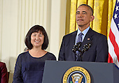 United States President Barack Obama presents the Presidential Medal of Freedom to artist and designer Maya Lin during a ceremony in the East Room of the White House in Washington, DC on Tuesday, November 22, 2016.  The Presidential Medal of Freedom is the Nation's highest civilian honor.<br /> Credit: Ron Sachs / CNP