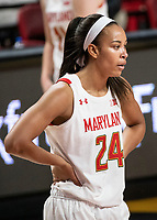 COLLEGE PARK, MD - DECEMBER 8: Stephanie Jones #24 of Maryland at the free throw line during a game between Loyola University and University of Maryland at Xfinity Center on December 8, 2019 in College Park, Maryland.