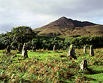 Loch Buie Lochbuie Stone Circle, Isle of Mull, Argyll and Bute, Scotland. This stone circle lies in the shaddow of Ben Buie. Celtic Britain published by Orion