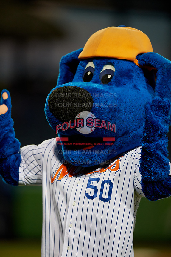 St. Lucie Mets mascot Klutch during a Florida State League game against the Florida Fire Frogs on April 12, 2019 at First Data Field in St. Lucie, Florida.  Florida defeated St. Lucie 10-7.  (Mike Janes/Four Seam Images)