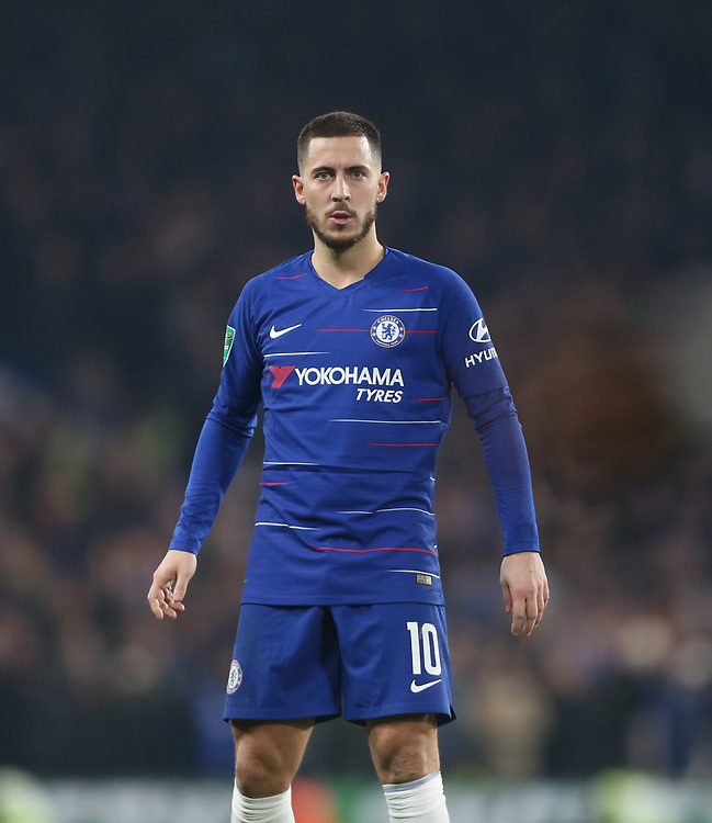 Chelsea's Eden Hazard<br /> <br /> Photographer Rob Newell/CameraSport<br /> <br /> The Carabao Cup Semi-Final Second Leg - Chelsea v Tottenham Hotspur - Thursday 24th January 2019 - Stamford Bridge - London<br />  <br /> World Copyright © 2018 CameraSport. All rights reserved. 43 Linden Ave. Countesthorpe. Leicester. England. LE8 5PG - Tel: +44 (0) 116 277 4147 - admin@camerasport.com - www.camerasport.com