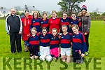 Allianz Cumann na mBunscol  Schools Mini Sevens County finals at Caherslee GAA Ground  on Monday Scoil Lios Telic Front l-r Layla Hanafin Lynch, Amy mc Carthy, Katie Nix, Lynda o' Connor,  Aoife o' Connell. Back l-r Coach John Slattery, Coach Carol Benner, Mairead Guerin, Kiah Doyle, Clodagh o' Sullivan, Heather Coffey, Lilly May o' Connor and Head Coach Catherine Sexton